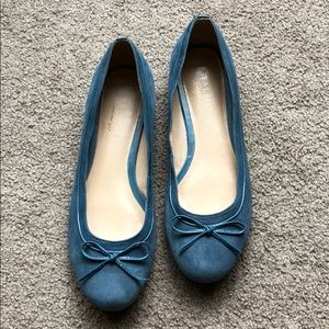 Talbots suede muted blue bow flats 8.5 B